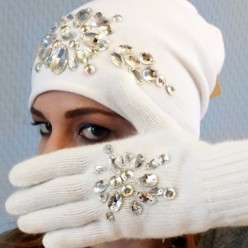 Белые перчатки со стразами Swarowski