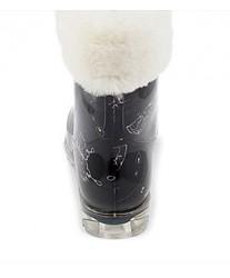 Резиновые сапоги на овчине Rubber Boots Black Butterflyes