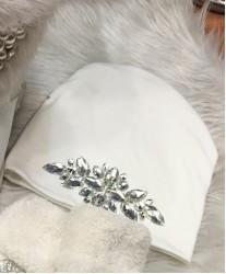 Белая шапка со стразами Swarowski