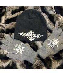 Серые перчатки со стразами Swarowski