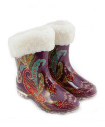Резиновые сапоги на овчине Rubber Boots Purple Print