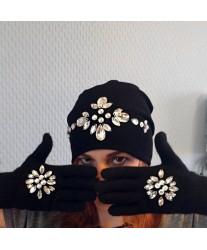 Черные перчатки со стразами Swarowski