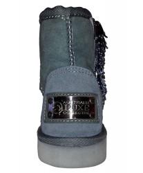 Серые мини сапожки с бисером
