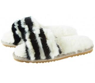 Тапочки из овчины Bella черно-белый мультиколор