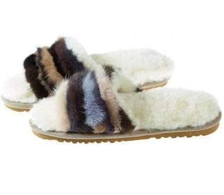 Тапочки из овчины Bella коричневый мультиколор
