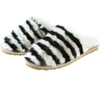 Тапочки из овчины Slippy черно-белая норка