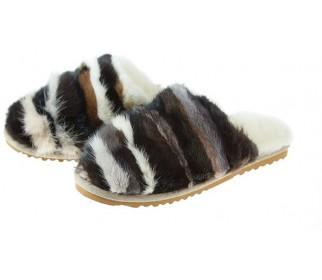 Тапочки из овчины Slippy коричневый мультиколор