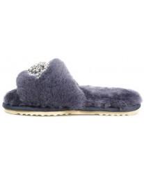 Тапочки из овчины со стразами Bella Glamour синий туман