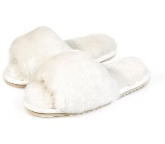 Тапочки из овчины со стразами Bella Glamour белые