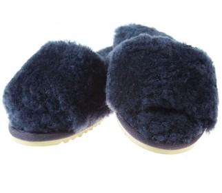 Тапочки из овчины Bella синий туман